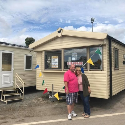 Mr and Mrs Hall with their newly purchased Willerby Salsa